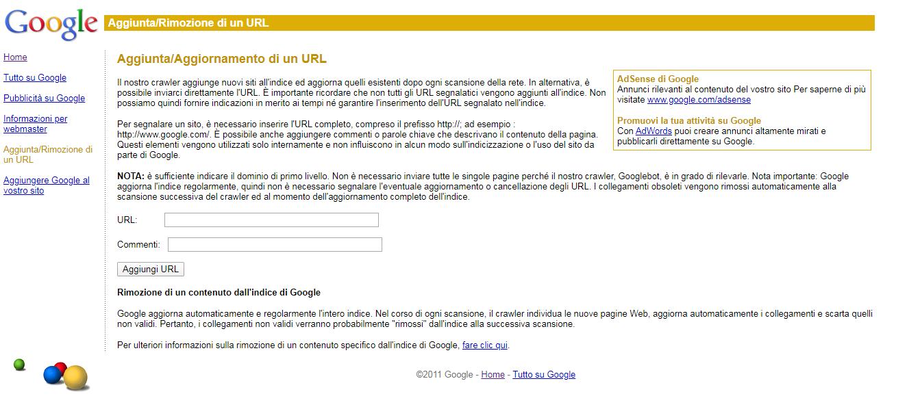 segnalare un sito a Google